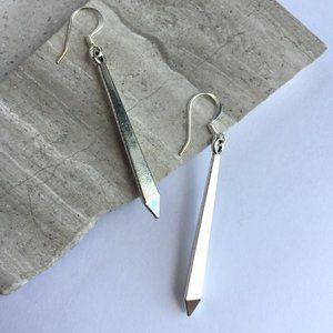 Long silver angled drop Earrings